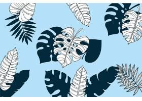 线形热带树叶以柔和的颜色为背景_7973323