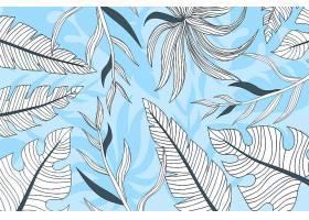 线形热带树叶以柔和的颜色为背景_7973324