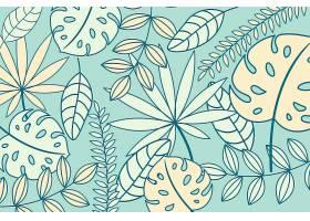 线形热带树叶以柔和的颜色为背景_7973325