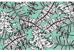线形热带树叶以柔和的颜色为背景_7973326