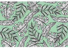 线形热带树叶以柔和的颜色为背景_7973329