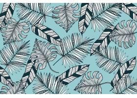 线形热带树叶以柔和的颜色为背景_7973330