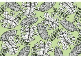线形热带树叶以柔和的颜色为背景_7973332