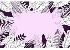 线形热带树叶以柔和的颜色为背景_8135436