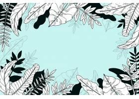 线形热带树叶以柔和的颜色为背景_8135440