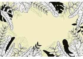 线形热带树叶以柔和的颜色为背景_8135451