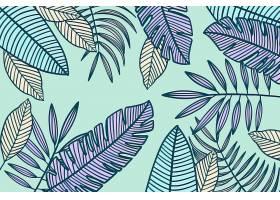 线形热带树叶以柔和的颜色为背景_8223543