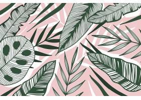 线形热带树叶以柔和的颜色为背景_8269286
