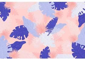 线形热带树叶以柔和的颜色为背景_8269292