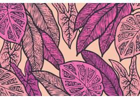 线形热带树叶以柔和的颜色为背景_8269293