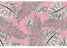 线形热带树叶以柔和的颜色为背景_8269312