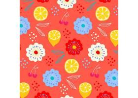 鲜花和柠檬的夏季图案_9687387
