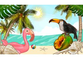 热带植物和水果背景_3842054