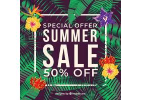 热带植物夏季促销背景_2584218