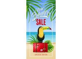 新的夏季促销行李箱上有海边和巨嘴鸟的相_2541248