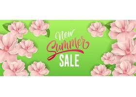 新的夏季打折字样绿色背景上有粉红色花朵_2541769