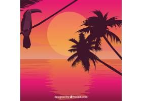 日出时的棕榈树和巨嘴鸟_1106801