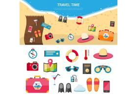 暑假旅游概念图标集_2874283