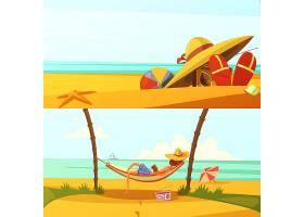 暑假水平卡通背景设置沙滩装及设备孤立矢量_4426342