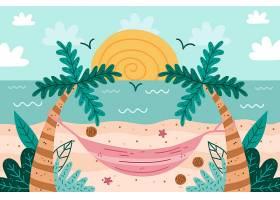 棕榈树和夏日海滩手绘背景_8245233