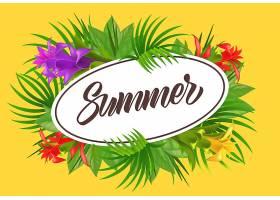 椭圆形花框里的夏日字样夏季优惠或销售广_2541728