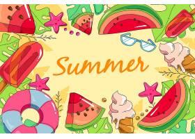 夏日背景手绘风格_8355311
