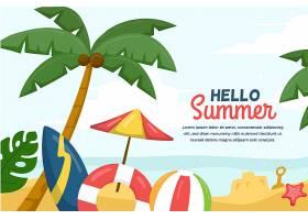 夏日背景棕榈树和海滩_8377758
