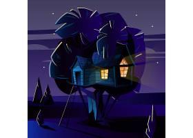 夜深人静的树屋的卡通插图_3090766
