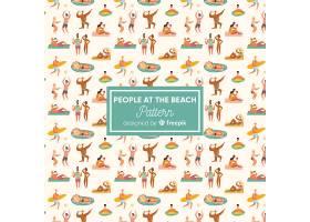 人们在海滩上看着花样_4650522