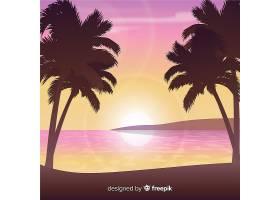 以棕榈剪影为背景的海滩日落_4917079