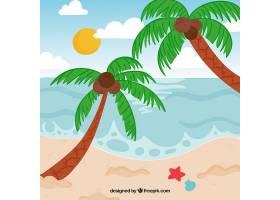 以棕榈树为背景的热带海滩_2620323