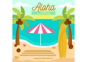 以棕榈树为背景的热带海滩_2620324