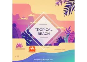 以棕榈树为背景的热带海滩_2669908