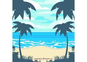 以棕榈树为背景的热带海滩_2669909