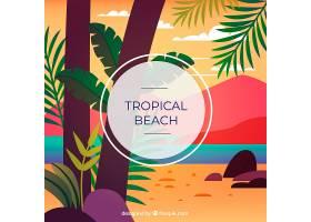 以棕榈树为背景的热带海滩_2669910
