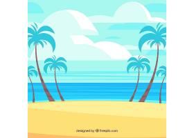 以棕榈树为背景的热带海滩_2669911