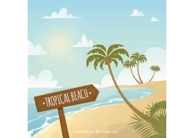 以棕榈树为背景的热带海滩_2856661
