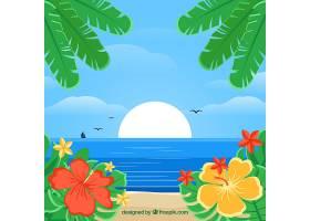 以植被为背景的热带海滩_2643312