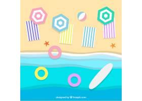 以纸质样式从顶部背景开始的海滩_2487900