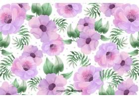 以美丽的花叶为背景的水彩画_5313147