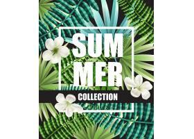 以鲜花和热带树叶为背景的夏季系列绿色海报_2541705