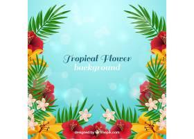 写实风格的热带花卉背景_2620335