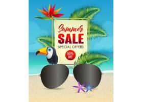 印有太阳镜和巨嘴鸟的夏季打折字样_4559008