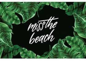 印有树叶和海滩的热带字母_7872345
