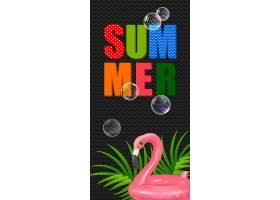 印有火烈鸟形状的游泳圈的夏日字样夏季优_2541733