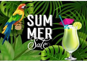 印有鹦鹉和鸡尾酒的夏季特卖会夏季优惠或_2541773