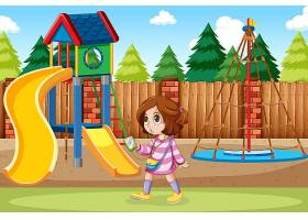 在公园里听音乐的女孩_4428792