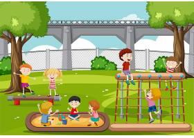 在公园里玩耍的孩子们_4295381