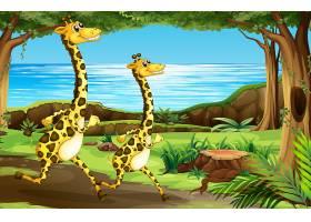 在森林里奔跑的长颈鹿_4366022