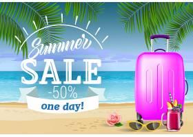 夏季促销一天提供印有海边和手提箱的字样_2766972
